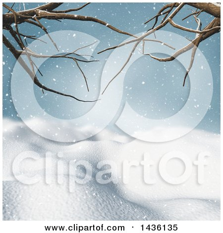 Clipart of a 3d Winter Landscape of Snow Covered Hills and Bare Tree Branches - Royalty Free Illustration by KJ Pargeter