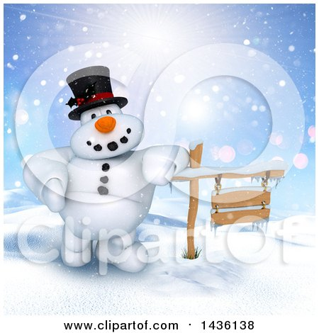 Clipart of a 3d Snowman Leaning on a Wood Sign in a Winter Landscape - Royalty Free Illustration by KJ Pargeter