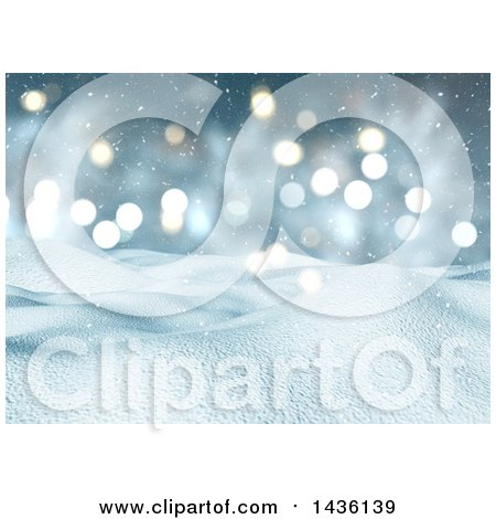 Clipart of a 3d Winter Landscape of Snow Covered Hills and a Bokeh Sky - Royalty Free Illustration by KJ Pargeter