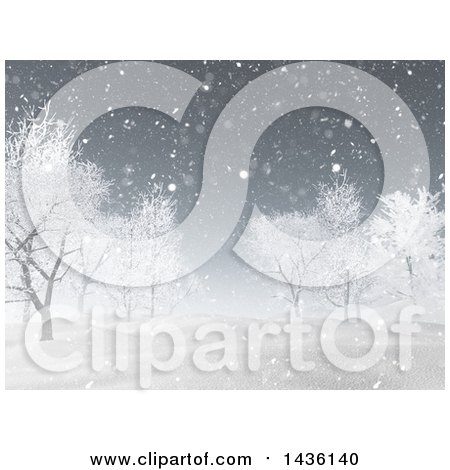 Clipart of a 3d Winter Landscape of Snow Covered Hills and Bare Trees - Royalty Free Illustration by KJ Pargeter