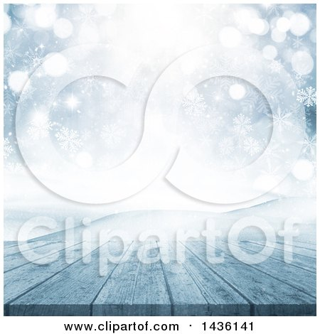 Clipart of a 3d Winter Landscape of Snow Covered Hills, a Deck and Snowflakes - Royalty Free Illustration by KJ Pargeter