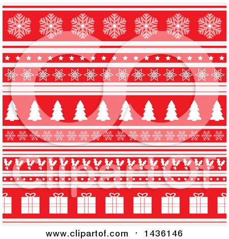 Clipart of a Red and White Christmas Background with Rows of Snowflakes, Stars, Trees, Holly and Gifts - Royalty Free Vector Illustration by KJ Pargeter