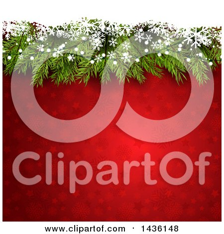 Clipart of a Red Christmas Background with Pine Branches, Snowflakes and Stars - Royalty Free Vector Illustration by KJ Pargeter
