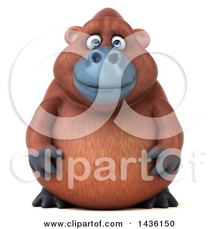 Clipart of a 3d Orangutan Monkey Mascot, on a White Background - Royalty Free Illustration by Julos