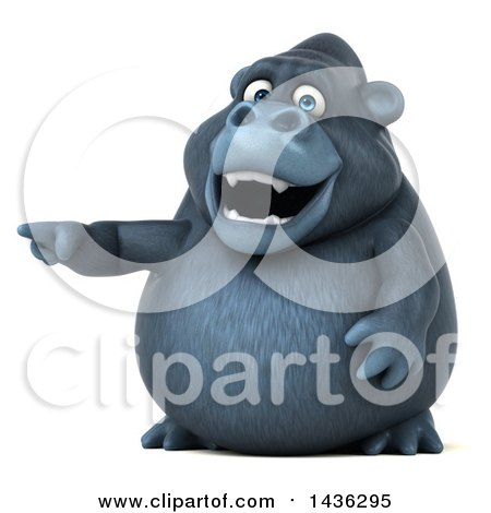 Clipart of a 3d Gorilla Mascot Pointing, on a White Background - Royalty Free Illustration by Julos