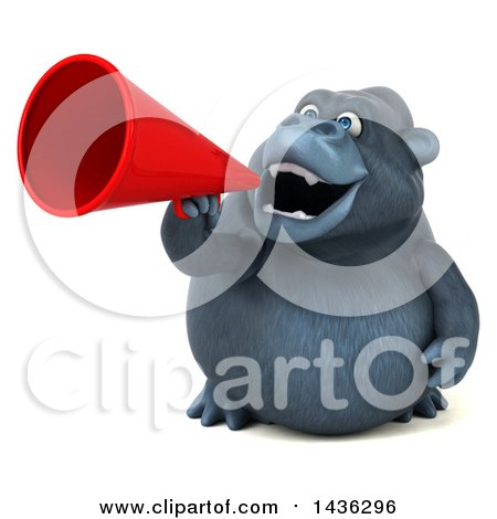 Clipart of a 3d Gorilla Mascot Using a Megaphone, on a White Background - Royalty Free Illustration by Julos