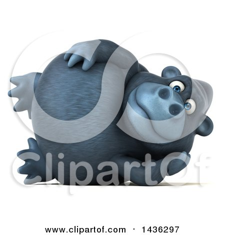 Clipart of a 3d Gorilla Mascot Resting on His Side, on a White Background - Royalty Free Illustration by Julos