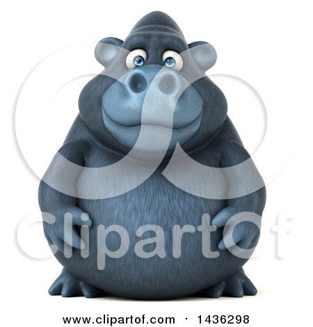 3d Gorilla Mascot, on a White Background Posters, Art Prints