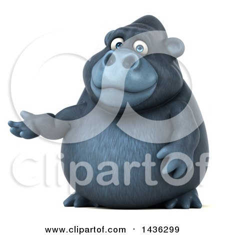 Clipart of a 3d Gorilla Mascot Presenting, on a White Background - Royalty Free Illustration by Julos