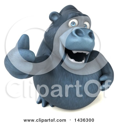 Clipart of a 3d Gorilla Mascot Giving a Thumb Up, on a White Background - Royalty Free Illustration by Julos