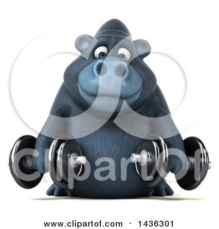 Clipart of a 3d Gorilla Mascot Working out with Dumbbells, on a White Background - Royalty Free Illustration by Julos