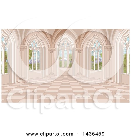 Clipart of a Medieval Castle Interior with Garden Windows - Royalty Free Vector Illustration by Pushkin