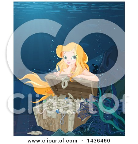 Clipart of a Pretty Blond Mermaid Opening a Sunken Treasure Chest - Royalty Free Vector Illustration by Pushkin