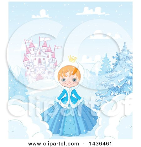 Clipart of a Happy Red Haired Princess in a Winter Landscape, Castle in the Background - Royalty Free Vector Illustration by Pushkin