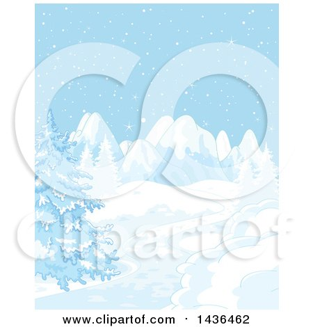 Clipart of a Snowy Winter Landscape with Mountains and Evergreens - Royalty Free Vector Illustration by Pushkin