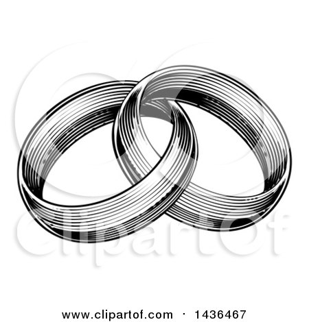 Two Entwined Golden Wedding Rings Clipart Picture by
