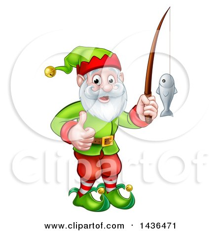 Clipart of a Happy Garden Gnome or Christmas Elf Giving a Thumb up and Fishing - Royalty Free Vector Illustration by AtStockIllustration