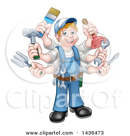 Clipart of a Cartoon Full Length Happy White Handy Man with Six Arms, Holding Tools - Royalty Free Vector Illustration by AtStockIllustration