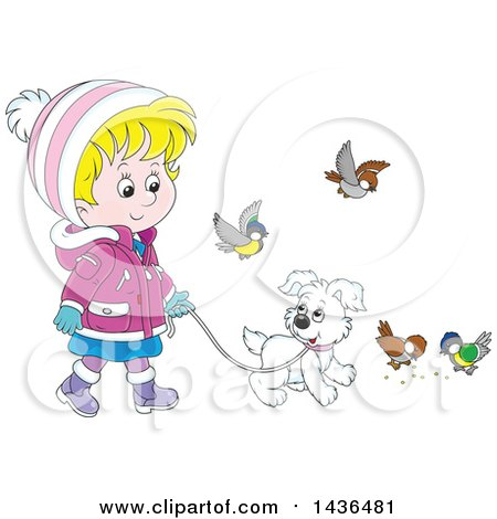 Clipart of a Cartoon Blond White Girl in Winter Clothing, Walking a Puppy Dog on a Leash, with Birds Around - Royalty Free Vector Illustration by Alex Bannykh