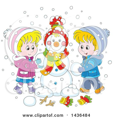 Clipart of a Cartoon Blond White Brother and Sister Building a Snowman - Royalty Free Vector Illustration by Alex Bannykh