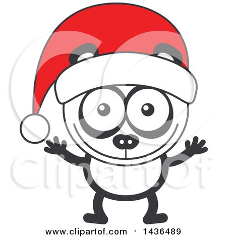 Clipart of a Cartoon Christmas Panda Wearing a Santa Hat - Royalty Free Vector Illustration by Zooco