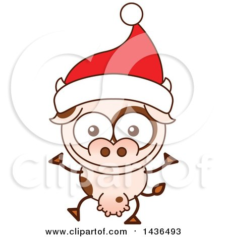 Clipart of a Cartoon Christmas Cow Wearing a Santa Hat - Royalty Free Vector Illustration by Zooco