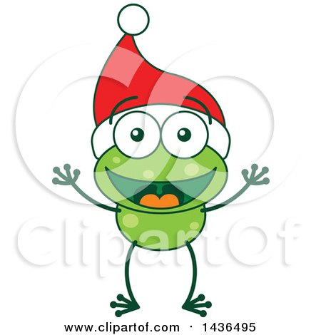 Clipart of a Cartoon Christmas Frog Wearing a Santa Hat - Royalty Free Vector Illustration by Zooco