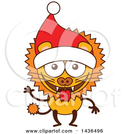 Clipart Of A Cartoon Christmas Lion Wearing A Santa Hat Royalty Free Vector Illustration By Zooco 1436496 King lion wearing crown on head illustration for your company or brand. clipart of a cartoon christmas lion
