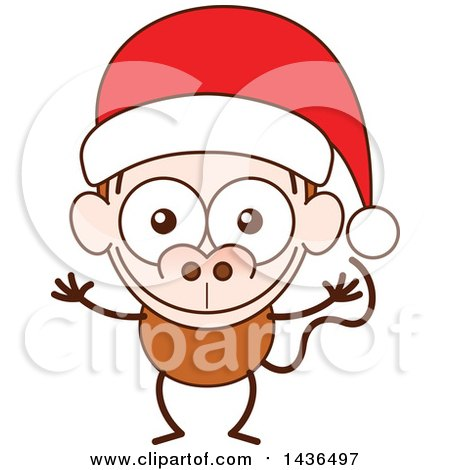 Clipart of a Cartoon Christmas Monkey Wearing a Santa Hat - Royalty Free Vector Illustration by Zooco