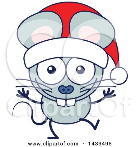Clipart of a Cartoon Christmas Mouse Wearing a Santa Hat - Royalty Free Vector Illustration by Zooco