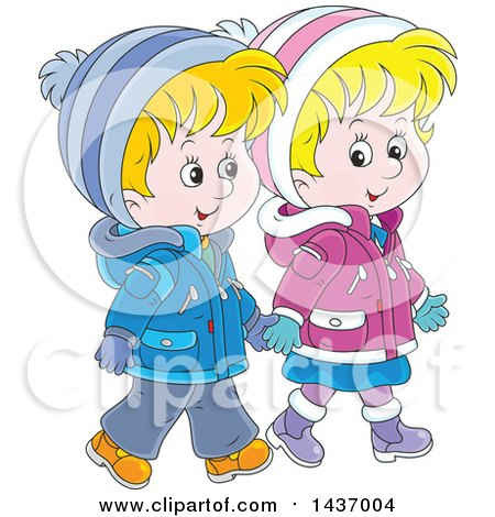 Clipart of a Cartoon Happy White Boy and Girl Holding Hands and Taking a Winter Walk - Royalty Free Vector Illustration by Alex Bannykh