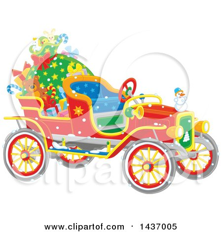 Clipart of an Antique Christmas Car with a Santa Sack and Gifts - Royalty Free Vector Illustration by Alex Bannykh