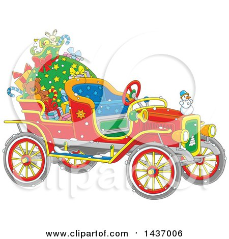 Clipart of a Cartoon Vintage Antique Christmas Car with a Santa Sack and Gifts - Royalty Free Vector Illustration by Alex Bannykh