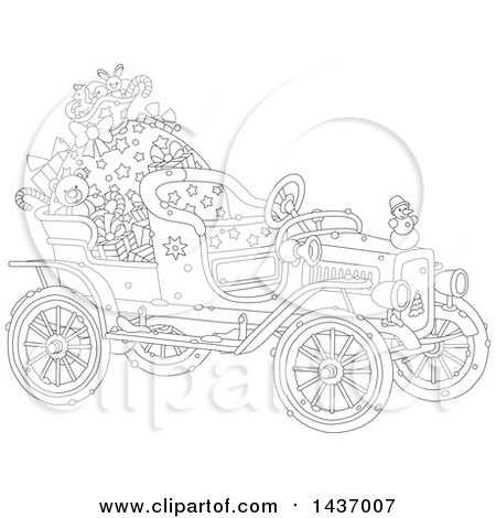 Clipart of a Black and White Lineart Antique Christmas Car with a Santa Sack and Gifts - Royalty Free Vector Illustration by Alex Bannykh