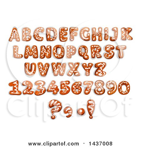 Clipart of Christmas Gingerbread Cookie Capital Letters and Numbers - Royalty Free Vector Illustration by Vector Tradition SM