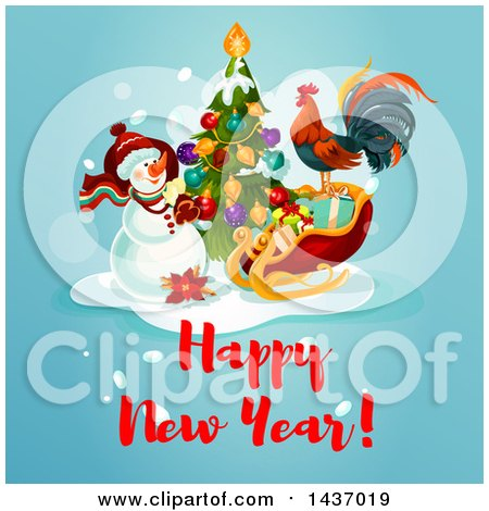 Clipart of a Happy New Year Greeting Design - Royalty Free Vector Illustration by Vector Tradition SM