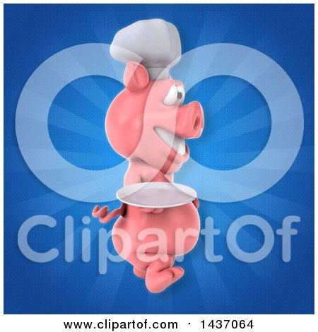 Clipart of a 3d Chef Pig - Royalty Free Illustration by Julos