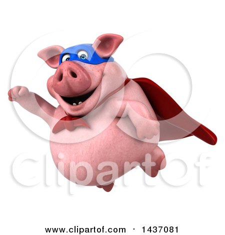 Clipart of a 3d Super Hero Chubby Pig, on a White Background - Royalty Free Illustration by Julos