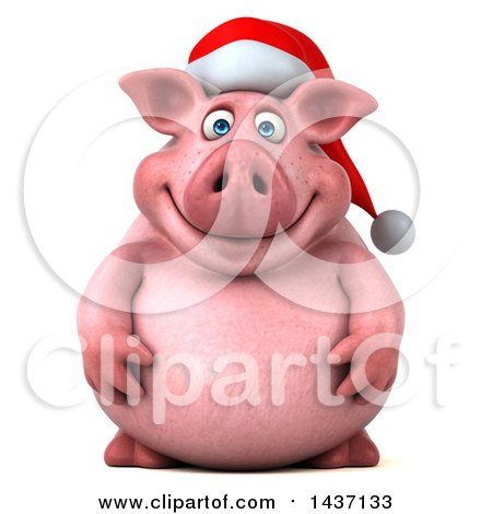 Clipart of a 3d Chubby Christmas Pig, on a White Background - Royalty Free Illustration by Julos