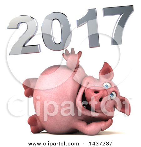 Clipart of a 3d Chubby Pig with New Year 2017, on a White ...