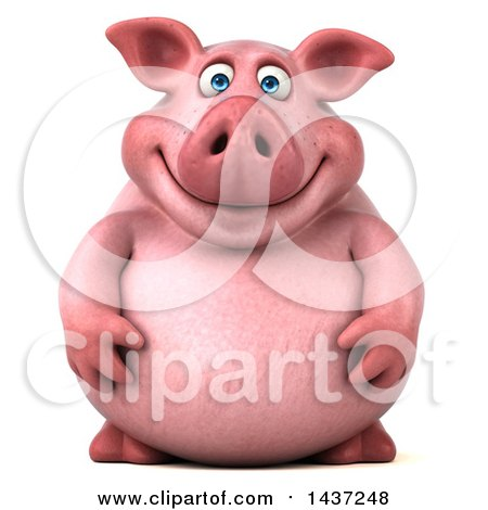 Clipart of a 3d Chubby Pig, on a White Background - Royalty Free Illustration by Julos