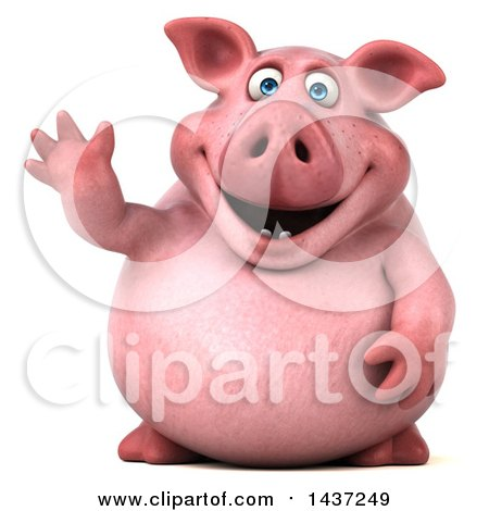 Clipart of a 3d Chubby Pig Waving, on a White Background - Royalty Free Illustration by Julos