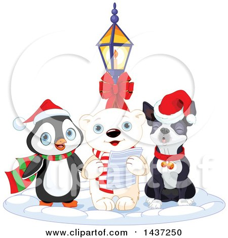 Clipart of a Polar Bear Singing Christmas Carols in the Snow with a Penguin and Boson Terrier - Royalty Free Vector Illustration by Pushkin