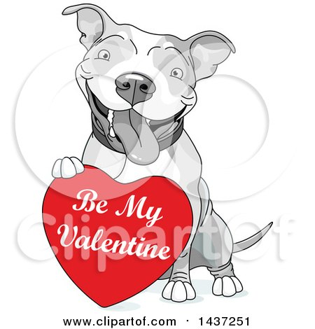 Clipart of a Cute Happy Grayscale Pit Bull Dog Resting a Paw on a Red Be My Valentine Heart - Royalty Free Vector Illustration by Pushkin