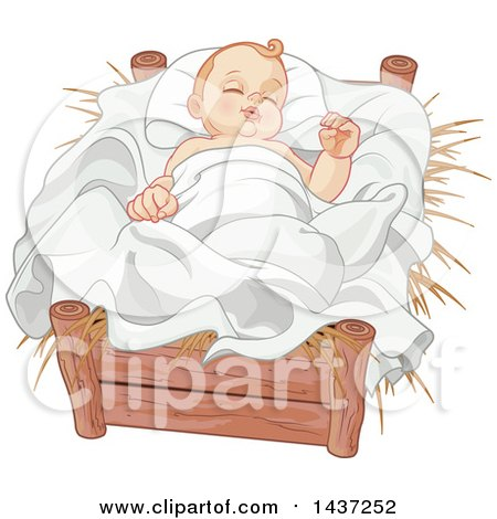 Clipart of a Nativity Baby Jesus in a Crib - Royalty Free Vector Illustration by Pushkin