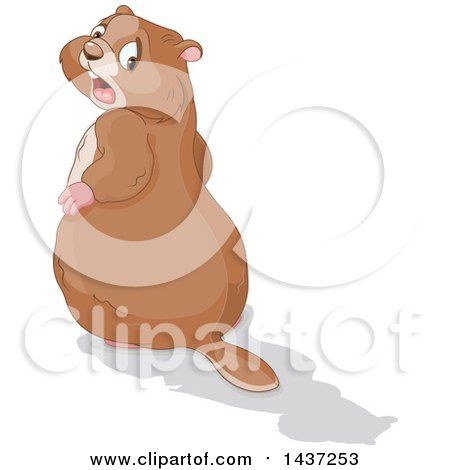 Clipart of a Groundhog Looking Back in Horror at His Shadow - Royalty Free Vector Illustration by Pushkin