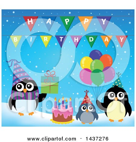Clipart of Party Penguins with a Gift, Cake and Balloons - Royalty Free Vector Illustration by visekart