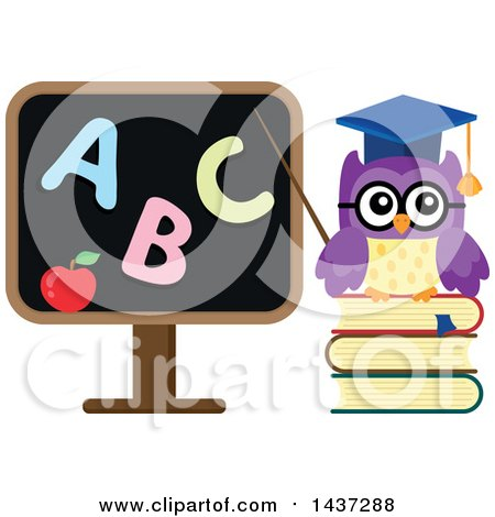 Clipart of a Professor Owl Pointing to an Abc Black Board - Royalty Free Vector Illustration by visekart