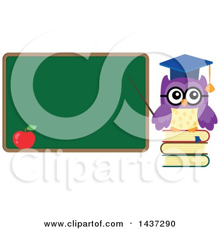 Clipart of a Professor Owl on Books, Pointing to a Chalk Board - Royalty Free Vector Illustration by visekart