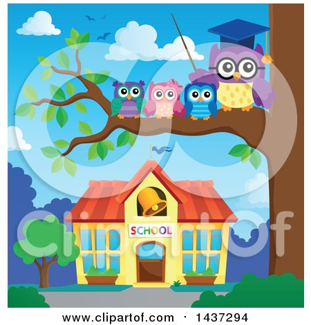 Clipart of a Professor Owl on a Branch with Students over a School - Royalty Free Vector Illustration by visekart